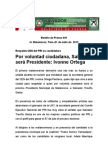 Por voluntad ciudadana, Salvador será Presidente