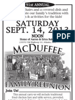 2013 McDuffee Family Reunion Flyer