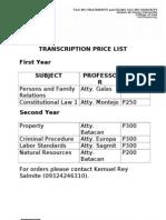 Transcription Pricelist