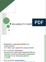 Reliability Coefficient formula