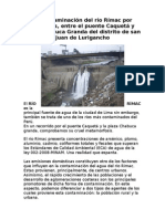 La contaminación del río Rímac por desagües informe