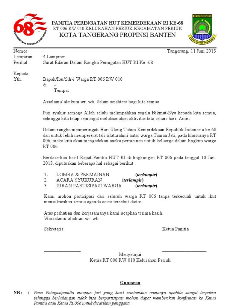 Contoh Undangan Rapat Hut Ri Ke 73 Nusagates