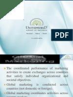 Global Aspects of Marketing Presentation - Unitedworld School of Business