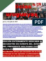 Noticias Uruguayas Jueves 4 de Julio Del 2013