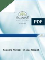 Sampling Methods in Social Research Presentation - Unitedworld School of Business