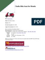 State Bank of India Bike Loan for Honda Activa