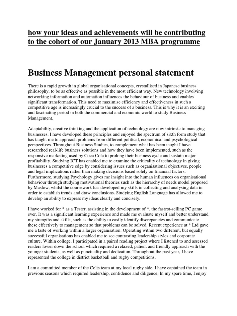 Business Management Personal Statement Creativity