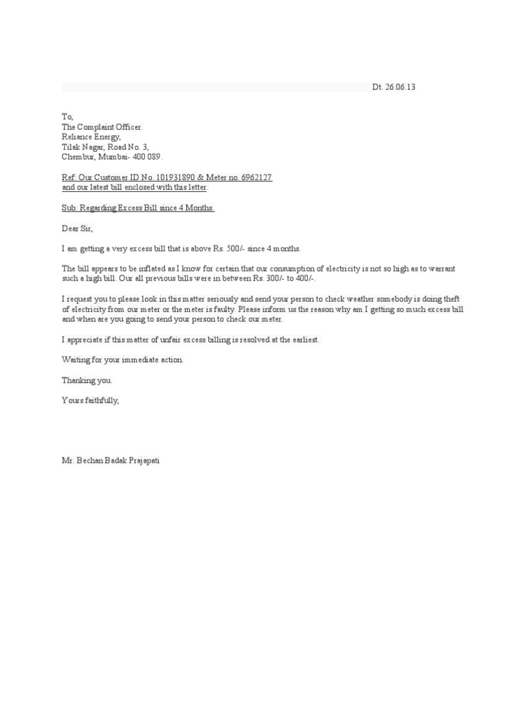 Complaint Letter Excess Electricity Charges
