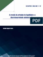 A Erosão do Princípio da Legalidade - António Augusto Costa - Ago12