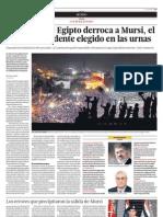 El ejército de Egipto derroca a Mursi, el primer presidente elegido en las urnas