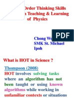 Higher Order Thinking Skills (HOTS) in Teaching & Learning of  Physics
