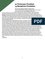 5 Contoh Rumusan Pertanyaan Penelitian Kuantitatif Tentang Manajemen Pendidikan