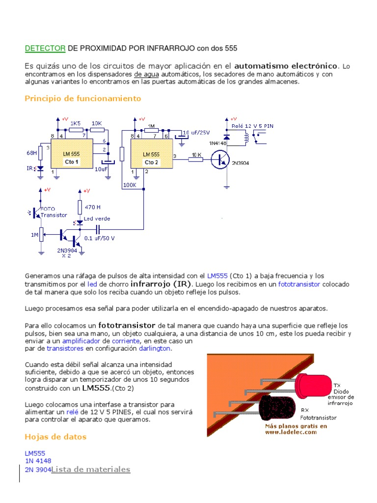 Detector Circuit Schematic Using The 555 Timer With Photocells 555