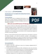 FACTSHEET HBO-OPLEIDING:   BACHELOR OF ICT IN COMPUTER INFRASTRUCTURE & MANAGEMENT