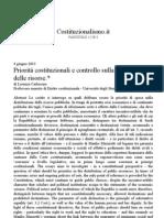 Lorenza Carlassare, Priorità costituzionali e controllo sulla destinazione delle risorse
