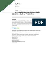 Trans 539 13 Deviance de l Histoire Et Histoire de La Deviance Sade Et l Institution
