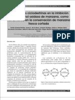 Efecto de las ciclodextrinas en la inhibición DE LA PPO DE MANZANA FRESCA CORTADA