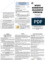 Weekend Newsletter for West Harbour Alliance Church - 2013 July 07