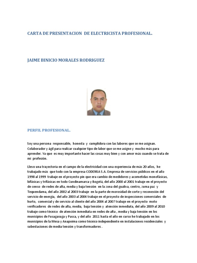 Hermosa Formato Reanudar Técnico Electricista Fotos - Colección De ...