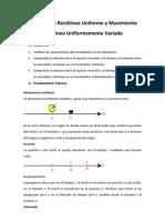 Movimiento Rectilíneo Uniforme y Movimiento Rectilíneo Uniformemente Variado