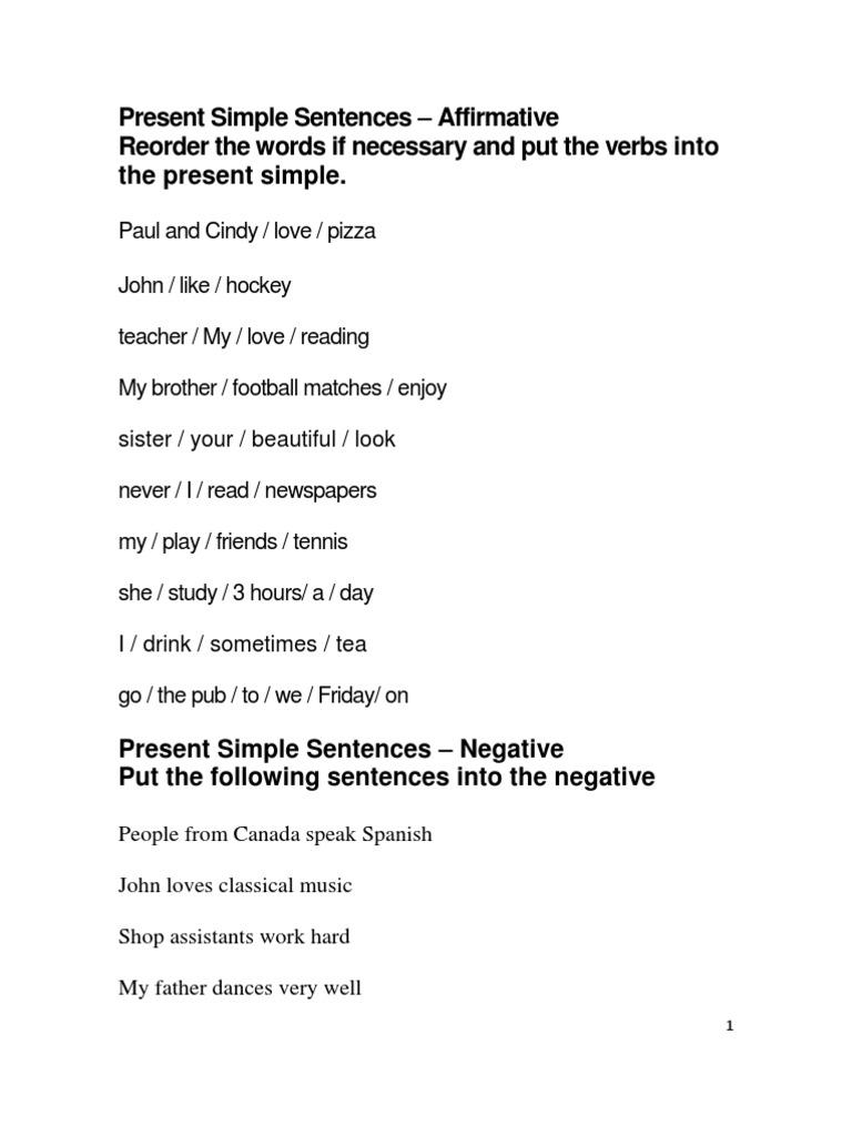 Present Simple Sentences Exercises | Sentence (Linguistics ...