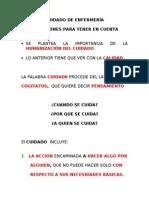 1 CUIDADO DE ENFERMERÍA REFLECCIONES IMPORTANTES