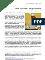 President Thein Sein's Inaugural Speech