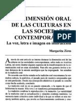 La dimensión oral De las culturas en las sociedades