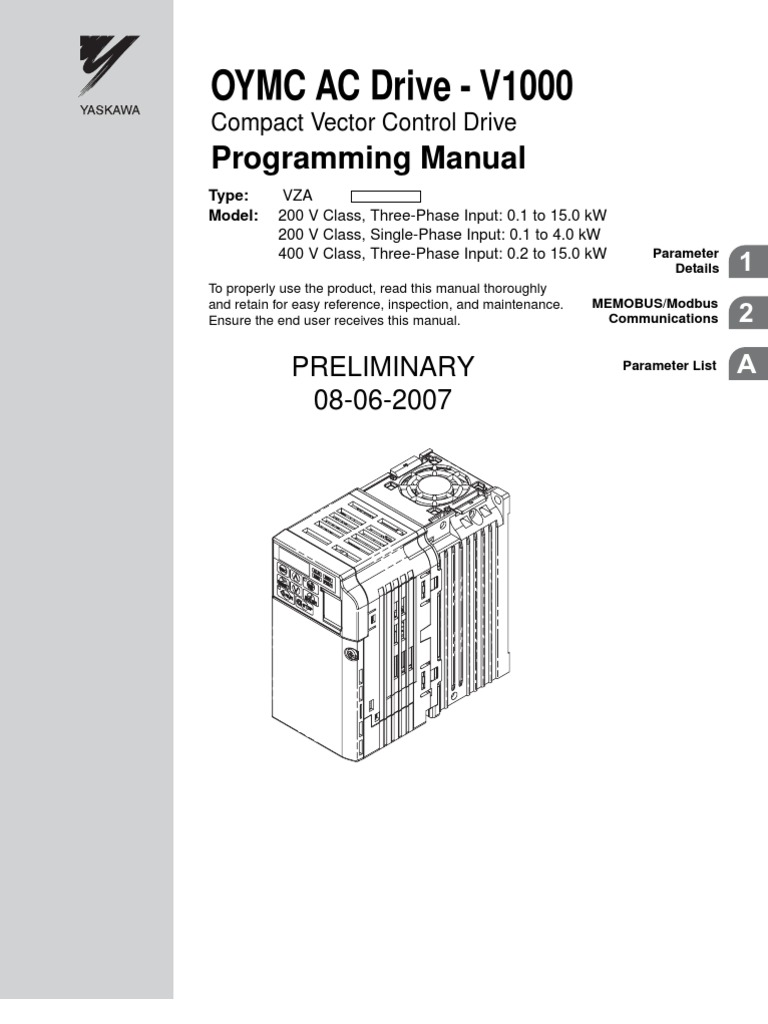 V1000 Programming Manual Oymc 070808 Parameter Computer And Mention Putting The Jumper On Terminals 53 53b Of Switch Electrostatic Discharge
