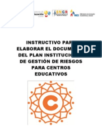 Instructivo Plan Institucional de Gestion de Riesgos Para Centros Educativos