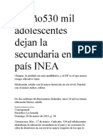 Al año530 mil adolescentes dejan la secundaria en el país INEA