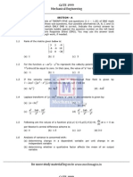GATE Paper Mechanical Engineering 1999