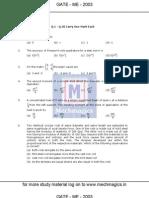 GATE Paper Mechanical Engineering 2003