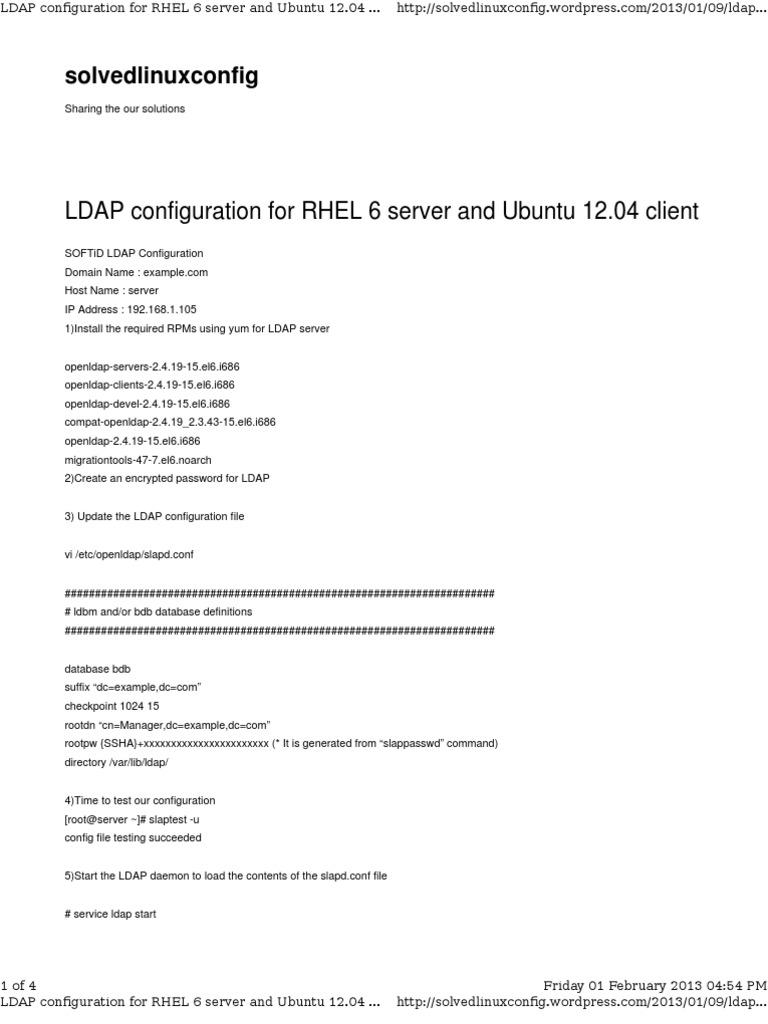 LDAP Configuration for RHEL 6 Server and Ubuntu 12 04 Client