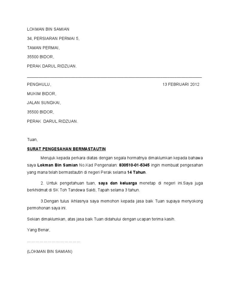 Surat Pengesahan Bermastautin Doc