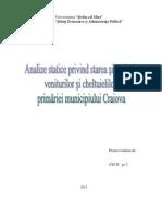 Analize Statice Privind Starea Si Evolutia Veniturilor Si Cheltuielilor Primariei Municipiului Craiova
