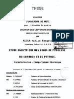 Alula M. Etude analytique des brais de pyrolyse du charbon et du pétrole