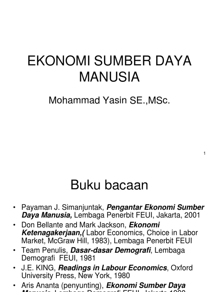 Ekonomi Sumber Daya Manusia