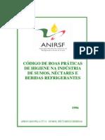 ANIRSF - Código de boas práticas de higiene na indústria de sumos, néctares e bebidas refrigerantes