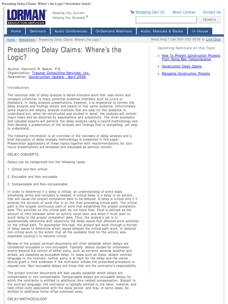 Presenting Delay Claims_ Where's the Logic_ Newsletter