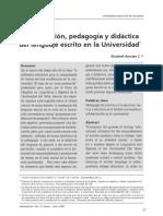 Alfabetizacion, Pedagogia y Didactica Del Lenguaje Escrito en La Universidad