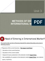 Stratergic Methods of Entering International Market