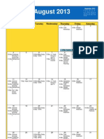 Oakmont August 2013 Calendar