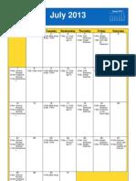 Oakmont UMC July  2013 Calendar