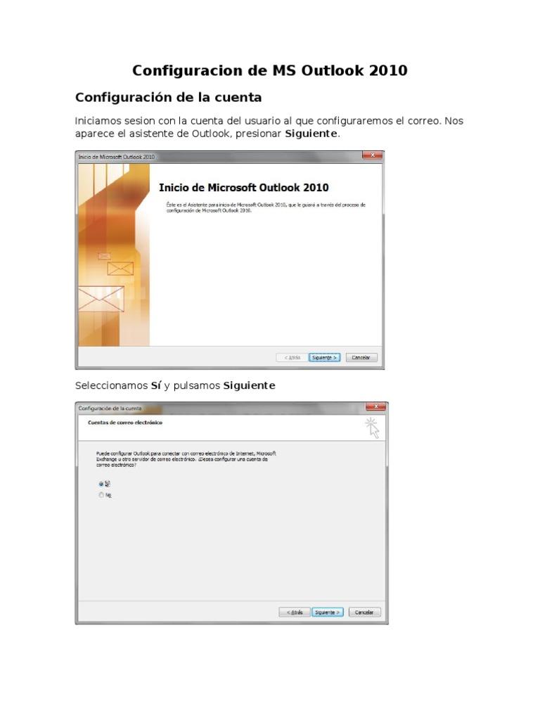 Manual de Configuración de Outlook 2010