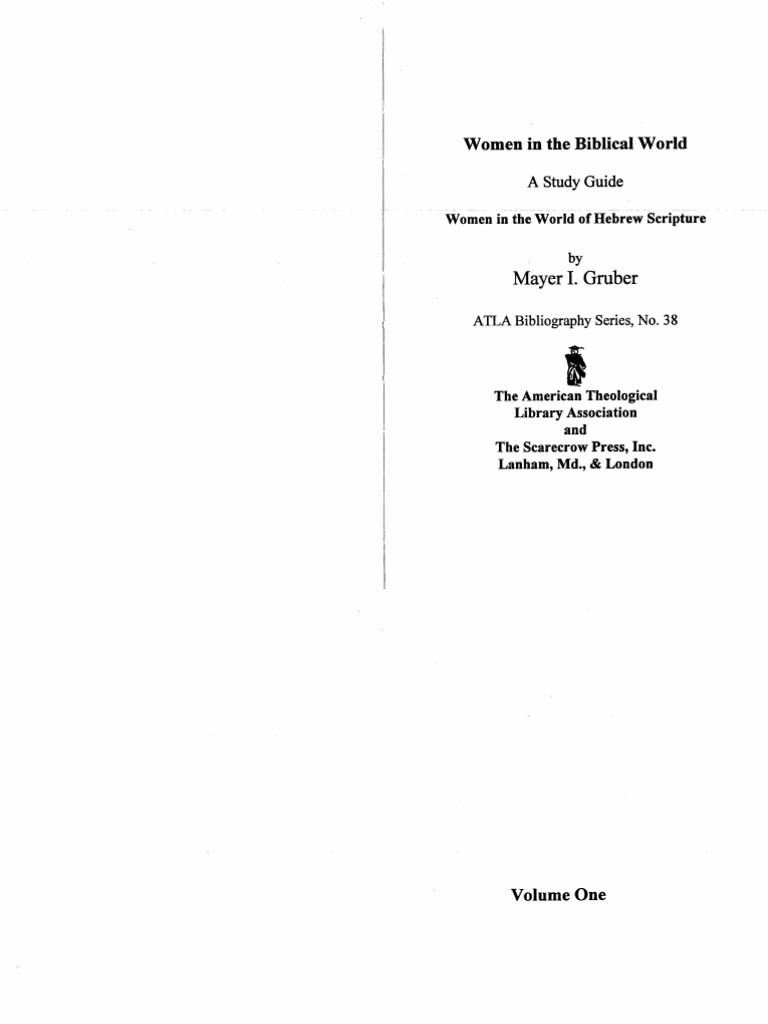 Women in the Biblical World. Women in the World of Hebrew Scripture ...