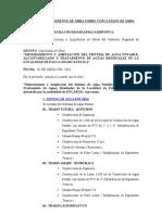 INFORME DE RESIDENTE DE OBRA SOBRE CONCLUSIÓN DE OBRA