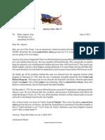 Anonymous Patriot Letter to Mario Apuzzo, Esq