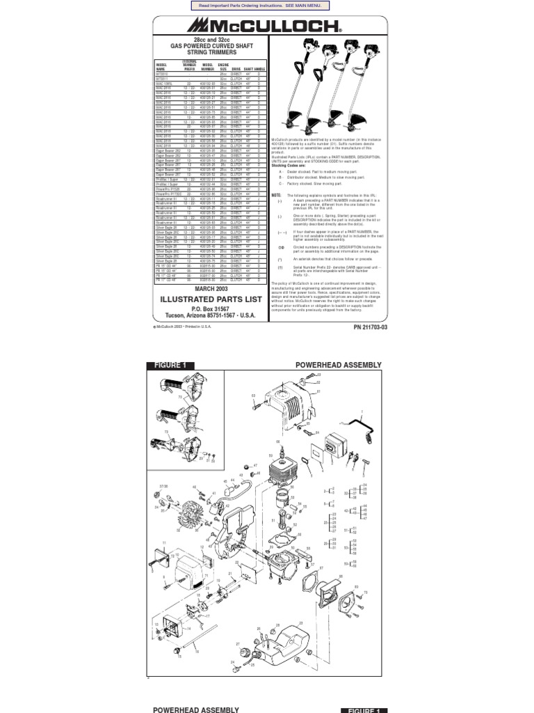 McCulloch Parts and specs. for multiple models trimmers