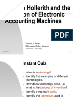 Hernan Hollerith and the Evolution of Electronic Accounting Machines (Bergin T., 2012)